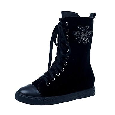 Damen Schuhe PU Winter Springerstiefel Stiefel Runde Zehe Schnürsenkel für Party & Festivität Schwarz