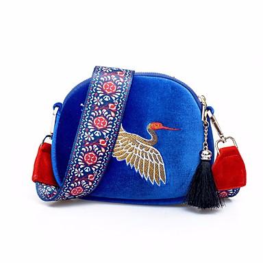 Damen Taschen Samt Umhängetasche Reißverschluss für Normal Ganzjährig Blau Schwarz