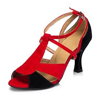 Damskie Buty do latino Skóra Sandały / Adidasy Gruby obcas Buty do tańca Red-Black / Profesjonalne