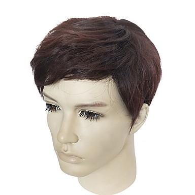 Peruki syntetyczne Kinky Straight Gęstość Bez czepka Męskie Brązowy Celebrity Wig Peruka naturalna Krótki Włosy syntetyczne