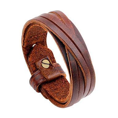 voordelige Herensieraden-Heren Lederen armbanden Statement Rock Hip-hop Oversized huid Armband sieraden Zwart / Bruin Voor Dagelijks Causaal
