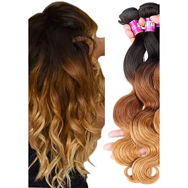 3 zestawy Włosy brazylijskie Body wave Włosy naturalne remy Ombre 12-22 in Ludzkie włosy wyplata Ludzkich włosów rozszerzeniach