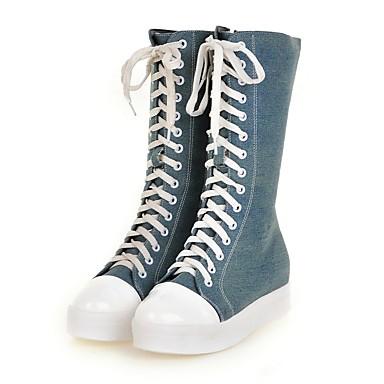 Damskie Obuwie Jeans Wiosna Jesień Kowbojki Comfort Buciki Okrągły Toe Kozaki do połowy łydki na Casual Black Niebieski