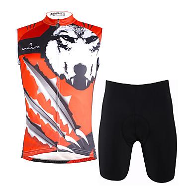 ILPALADINO Męskie Bez rękawów Koszulka z szortami na rower - Czerwono-srebrny Tęczowy Rower Kamizelka Spodenki snowboardowe Zestawy