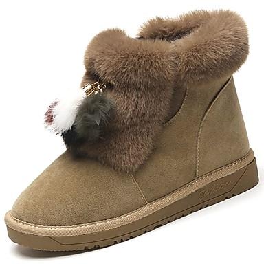Damen Schuhe Nubukleder Winter Schneestiefel Stiefel Runde Zehe Für Schwarz Braun