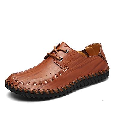 Męskie Komfortowe buty Skóra / Derma Wiosna / Lato Tenisówki Czarny / Żółty / Dark Brown