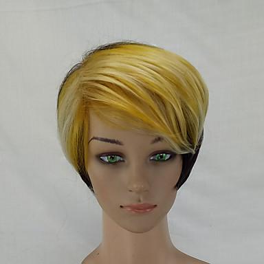 Synthetische Perücken Glatt Stufenhaarschnitt Synthetische Haare Strähnchen / Balayage-Technik Blond Perücke Damen Kurz Natürliche