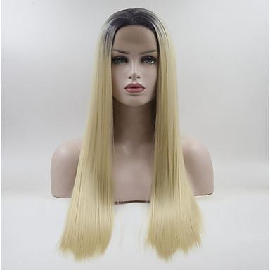 Syntetyczne koronkowe peruki Włosy syntetyczne Biały Peruka Damskie Medium / Długo Peruka naturalna Koronkowy przód