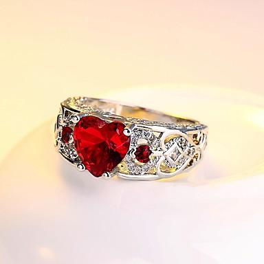 Damskie Cyrkonia Rhinestone Cyrkonia Srebrny Pierścionek zaręczynowy Band Ring - Vintage Elegancki Silver Czerwony Niebieski Light Pink