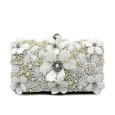 abordables Sacs-Femme Détail Perle / Fleur Polyester Pochette Sacs de mariage A Fleur Blanche