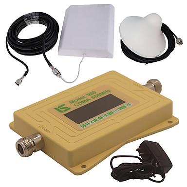 Mini intelligente lcd-anzeige cdma980 850 mhz handy signal booster repeater mit outdoor panel antenne / indoor decke antenne gelb