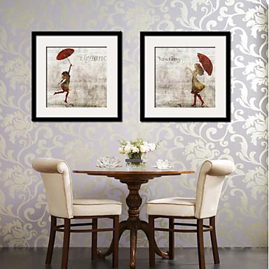 Oprawione płótno Zestaw w oprawie Ludzie Postarzane Wall Art, PVC (polichlorek winylu) Materiał z ramą Dekoracja domowa rama Art Living