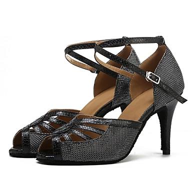 נעליים לטיניות רשת / דמוי עור סנדלים / עקבים שחבור עקב מותאם מותאם אישית נעלי ריקוד שחור