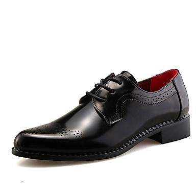 Férfi cipő Bőr Nyár Ősz Kényelmes Félcipők Fűző Lyukacsos Cipzár Kompatibilitás Esküvő Hétköznapi Party és Estélyi Fekete Barna Burgundi