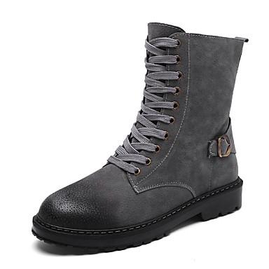 Herrn Schuhe PU Herbst Winter Springerstiefel Modische Stiefel Komfort Stiefel Mittelhohe Stiefel Schnürsenkel für Normal Draussen