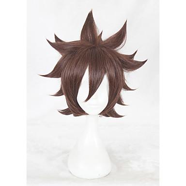 Peruki syntetyczne Kinky Straight Gęstość Bez czepka Damskie Brązowy cosplay peruka Krótki Włosy syntetyczne