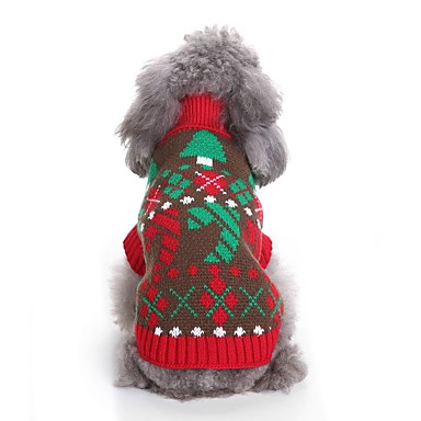 Kot Pies Swetry Ubrania dla psów Wielokolorowa Czerwony Włókna akrylowe Kostium Dla zwierząt domowych Męskie Damskie Codzienne Blok