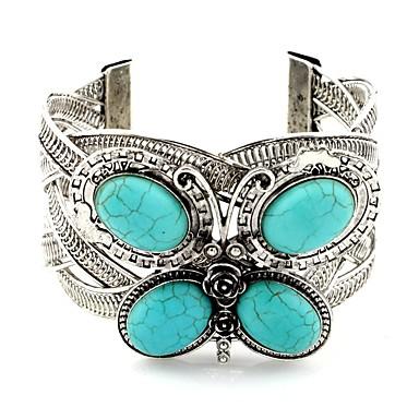 billige Motearmbånd-Dame Turkis Mansjettarmbånd Dyr damer Klassisk Vintage Turkis Armbånd Smykker Sølv Til Daglig