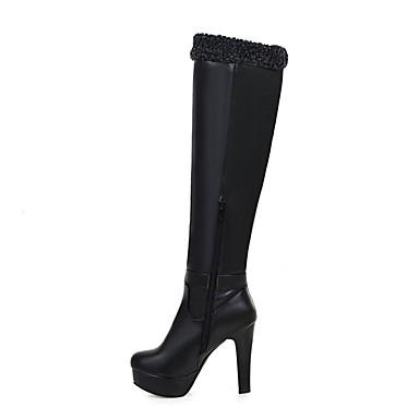Damen Schuhe Kunstleder Herbst Winter Modische Stiefel Stiefel Runde Zehe Kniehohe Stiefel Schnalle für Normal Kleid Schwarz Beige