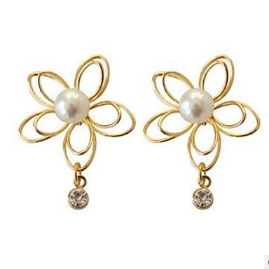 Damskie Kolczyki na sztyft Rhinestone Pearl imitacja Klasyczny Modny Imitacja pereł Imitacja diamentu Stop Kwiat Biżuteria Gold Codzienny
