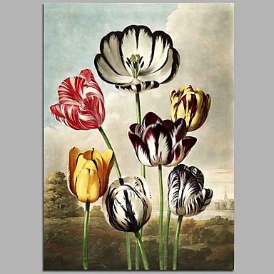 Ręcznie malowane Kwiatowy/Roślinny Pionowy, Rustykalny Brezentowy Hang-Malowane obraz olejny Dekoracja domowa Jeden panel