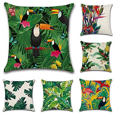 6 szt Cotton / Linen Poszewka na poduszkę Pokrywa Pillow, Liście drzew / Klasyczny Nowość קלאסי Tropikalny Neoklasycyzm Euro Tradycyjny /