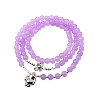 Damskie Kryształ Bransoletki Strand, Bransoletki Wrap - Kryształ Light Purple