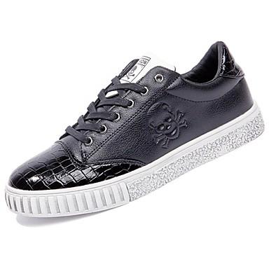 Męskie Buty PU Derma Zima Comfort Tenisówki na Casual Black Black/White