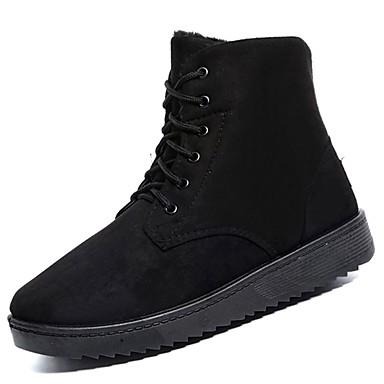 Herren Schuhe Beflockung Nubukleder Wildleder PU Herbst Winter Komfort Stiefel Mittelhohe Stiefel Für Normal Schwarz Grau Braun