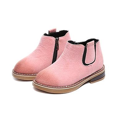 Dla dziewczynek Obuwie PU / Derma Zima Modne obuwie / Comfort Buciki Zamek na Casual / Na wolnym powietrzu Black / Różowy / Dark Brown