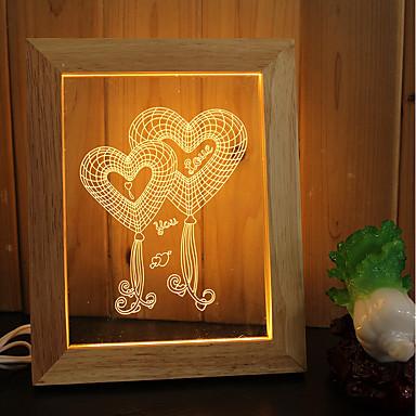 1set 3D Nachtlicht Warmes Weiß USB Stress und Angst Relief Abblendbar Romantisch Nacht 5V Künstlerisch LED Modern / Zeitgenössisch