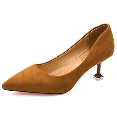Damen Schuhe Nubukleder Frühling Herbst Komfort High Heels Spitze Zehe Für Normal Schwarz Gelb Grün