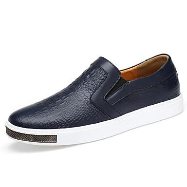 Herren Schuhe Leder Frühling Herbst Komfort Loafers & Slip-Ons für Normal Weiß Schwarz Blau