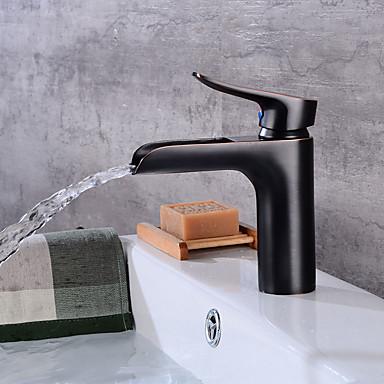 Art déco/Retro Mittellage Wasserfall Keramisches Ventil Einhand Ein Loch Öl-riebe Bronze , Waschbecken Wasserhahn