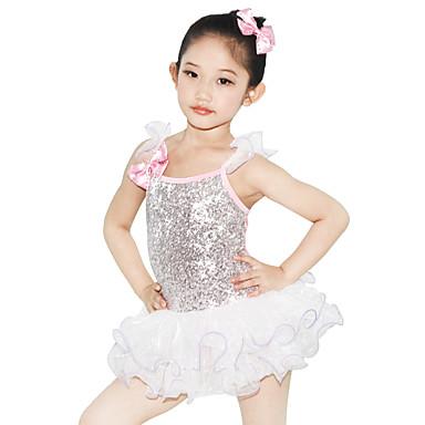 Tanzkleidung für Kinder Kleider Leistung Elasthan Elastan Tüll Pailletten Lycra Schleife(n) Pailetten Kristalle / Strass Rüschen Ärmellos