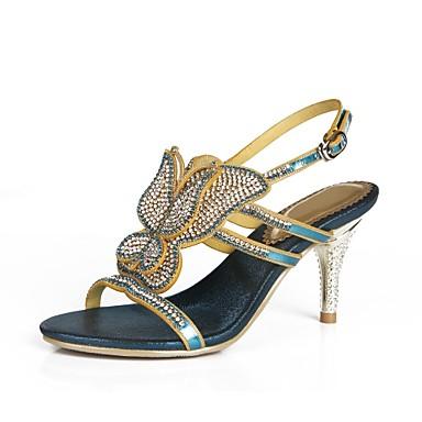 Mujer Zapatos Poliuretano Primavera / Verano Botas de Moda Sandalias Tacón Cuña Puntera abierta Pedrería / Cristal / Purpurina Rojo / CgJxrr