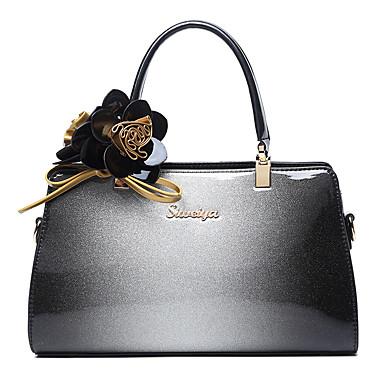 Damen Taschen Kuhfell Tragetasche Blume(n) für Normal Formal Ganzjährig Grau Purpur Wein