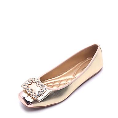 Women's Shoes Flocking / Leatherette Summer / Fall Comfort Flats Flat Heel Square Toe Rhinestone Gold / Black / Silver