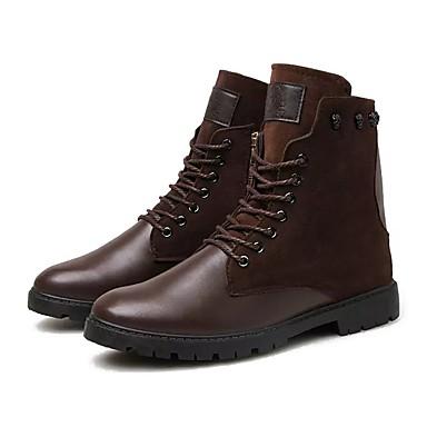Męskie Buty Nappa Leather Skóra Zima Comfort Buciki Szurowane na Casual Black Brown