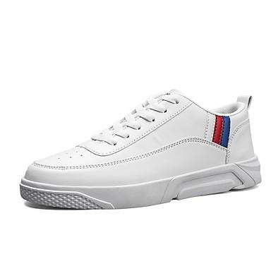 Herren Schuhe PU Frühjahr, Herbst, Winter, Sommer Komfort Leuchtende Sohlen Sneakers Für Normal Weiß Schwarz Grau