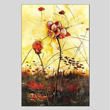 Hang-Ölgemälde Handgemalte - Blumenmuster / Botanisch Modern Segeltuch / Gestreckte Leinwand