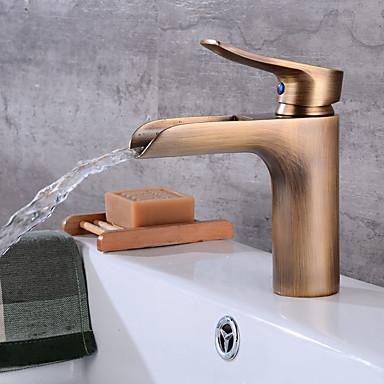 Art déco/Retro Mittellage Wasserfall Keramisches Ventil Einhand Ein Loch Antikes Kupfer, Waschbecken Wasserhahn