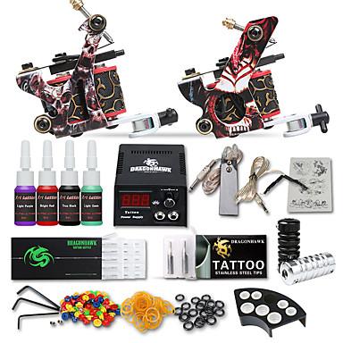 Tattoo Machine Startkit - 2 pcs tattoo maskiner med tatovering blekk, Profesjonell LCD strømforsyning No case 2 x støpejern tatoveringsmaskin til lining og skyggelegging