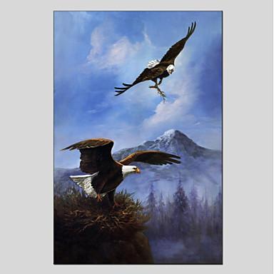 Hang-Malowane obraz olejny Ręcznie malowane - Zwierzęta Zwierzęta Płótno / Rozciągnięte płótno