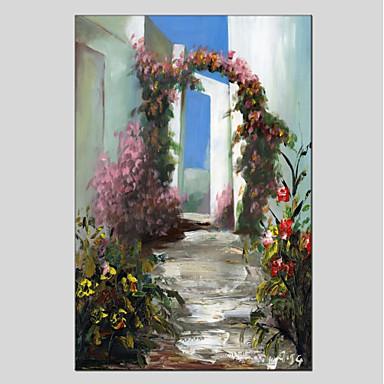 Hang-Malowane obraz olejny Ręcznie malowane - Achitektura Nowoczesny Płótno / Rozciągnięte płótno