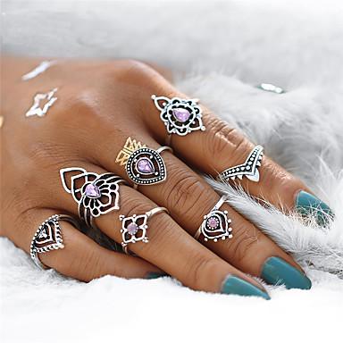 voordelige Ring-Dames Ringen Set / Pinkring Synthetische Amethist 7pcs Zilver Kristal / Legering Geometrische vorm Dames / Vintage / Bohémien Feest / Lahja Kostuum juwelen