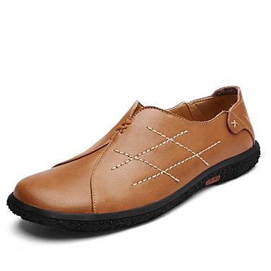 Męskie Komfortowe buty Skóra / Derma Wiosna / Lato Mokasyny i buty wsuwane Spacery Czarny / Jasnobrązowy / Ciemnobrązowy