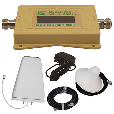 Mini intelligente lcd display umts 3g980 2100 mhz handy signal booster repeater mit outdoor-log periodische antenne / indoor decke antenne