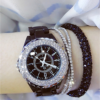 cheap Diamond Watches-Women's Ladies Wrist Watch Diamond Watch Wrap Bracelet Watch Japanese Quartz Ceramic Black / White 30 m Casual Watch Analog Charm Bling Bling - White Black / Stainless Steel