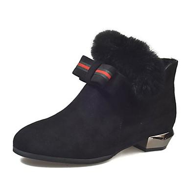 Damen Schuhe Kaschmir Winter Schneestiefel Stiefel Runde Zehe Mittelhohe Stiefel Schleife für Normal Schwarz Braun